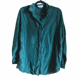 Express Vintage Silk Green Button Down Blouse